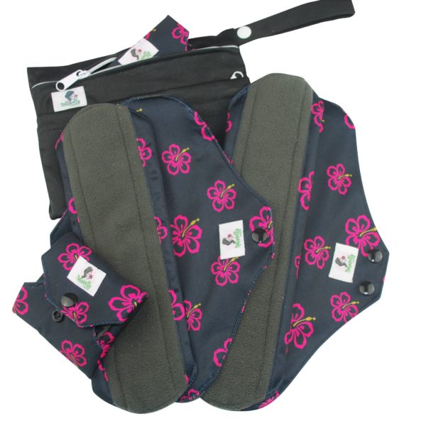Reusable Sanitary Towels Black and flower print