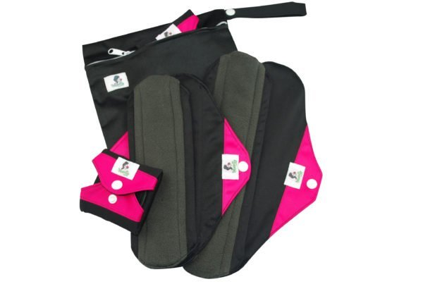 Black and Pink Reusable Sanitary Towels