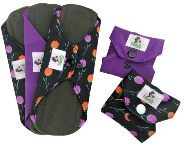 reusable sanitary towels purple and black
