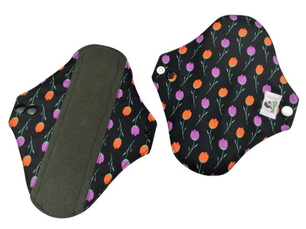 reusable sanitary towels purple flowers and orange